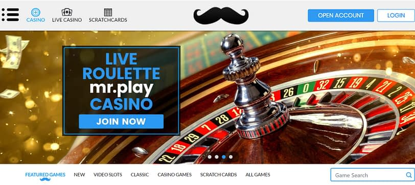 MrPlay Casino homepage screenshot