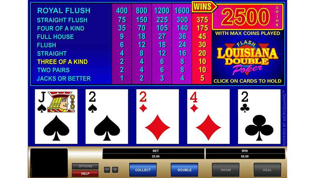 Bob Casino video poker - Louisiana Double Poker by Quickfire Microgaming