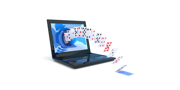 Blackjack card coming out of a laptop