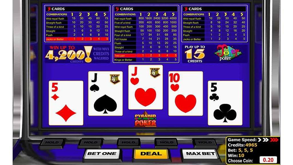 Bob Casino video poker - Pyramid Joker Poker by Betsoft Gaming