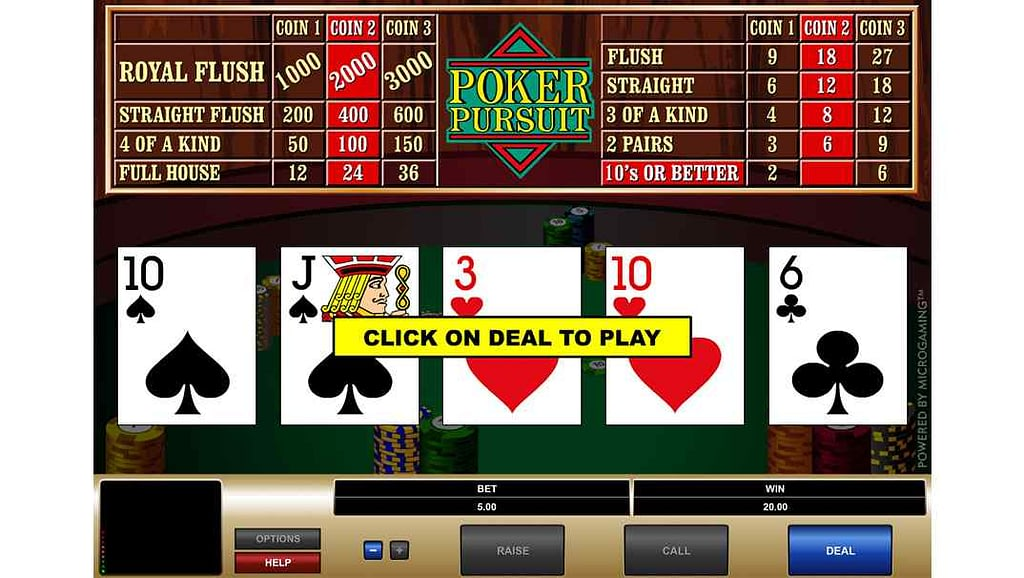 Enzo Casino video poker - Poker Pursuit by Quickfire Microgaming