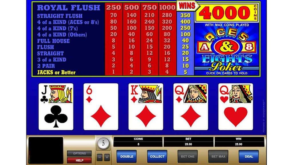 Bob Casino video poker - Aces & Eights by Quickfire Microgaming