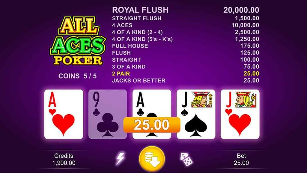 Enzo Casino video poker - All Aces Poker by Microgaming