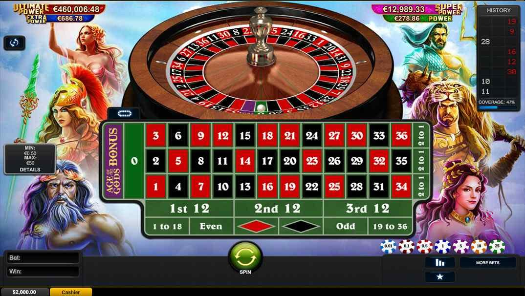 Casino Las Vegas Age of the Gods roulette game