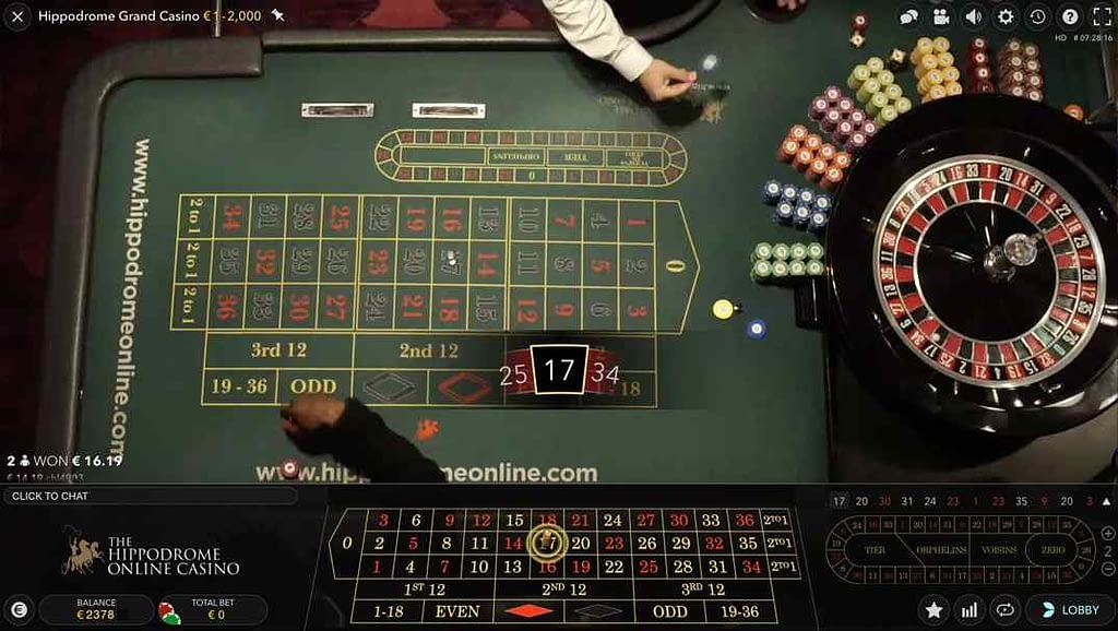 Spinia Live Hippodrome roulette screenshot