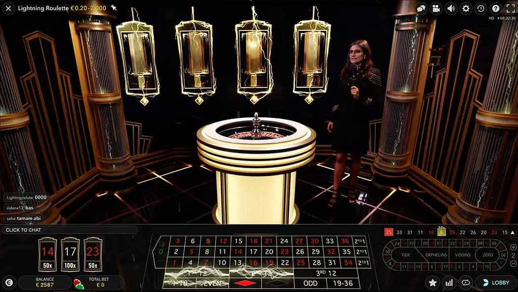 Spinia Lightning Live roulette screenshot