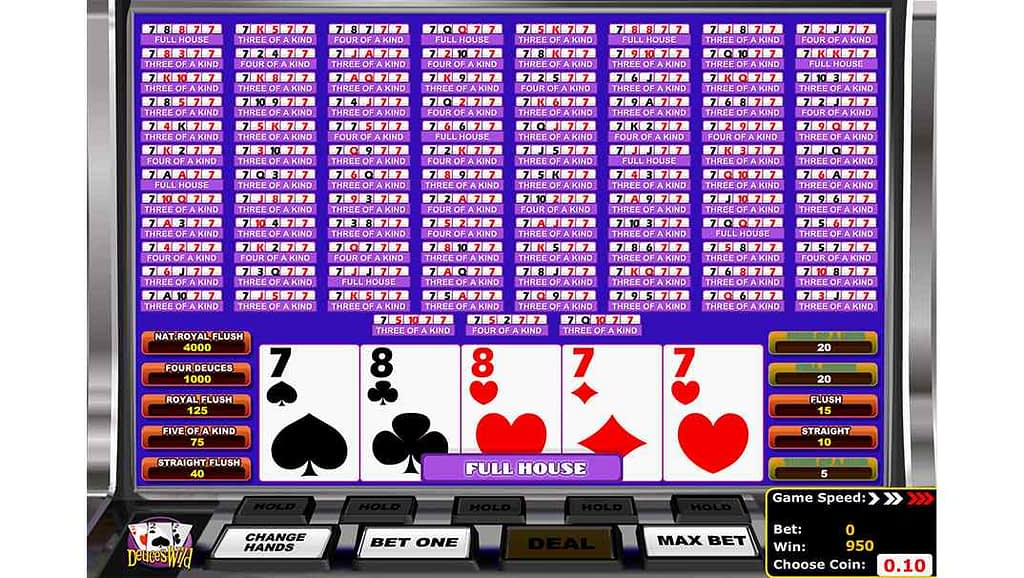 Betamo video poker - Deuces Wild by Betsoft Gaming
