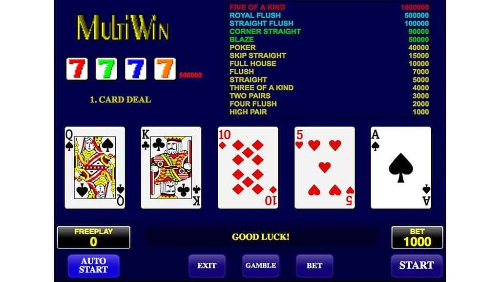 Betchan video poker - Multi Win by Amatic