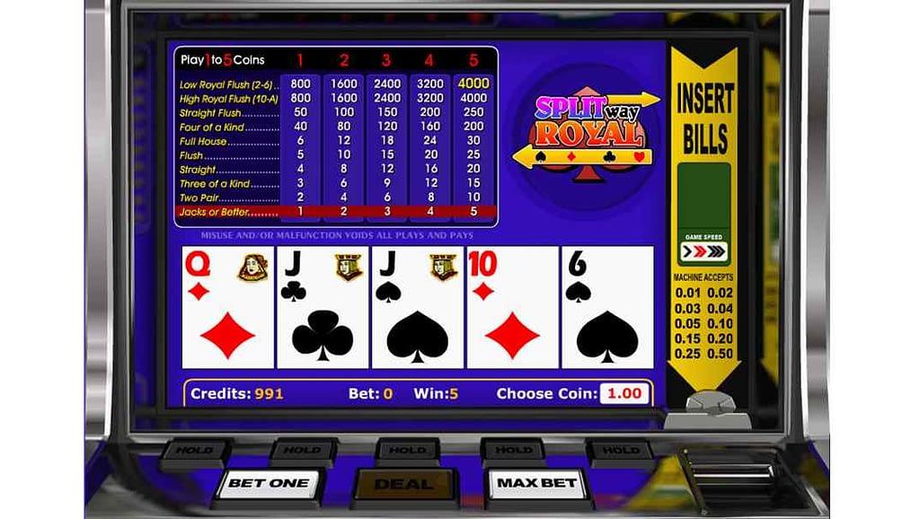 Betchan video poker - Split Way Royal by Betsoft Gaming