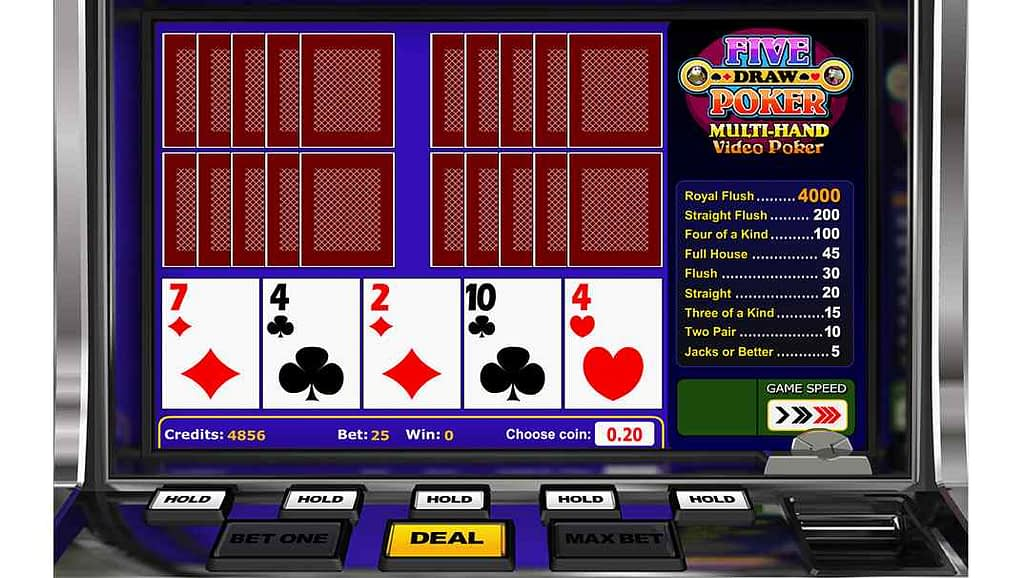 Spinia Video Poker - Five Draw Multihand