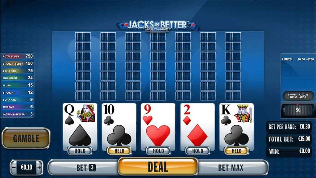 Spinia Video Poker - Jacks or Better by Playtech