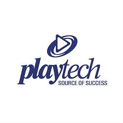 Playtech logo with white background & blue fonts